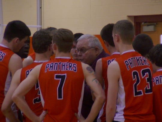 Former Central York coach Brad Livingston discusses strategy with his team during a Koller Classic tournament several years ago. Livingston was the longtime JV coach under the Kollers before taking over as head coach.