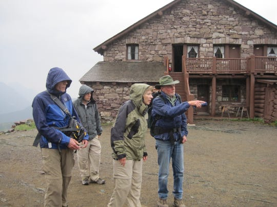 Dave Shea, right, who worked in Glacier for 36 years, points out where bears used to be fed behind Granite Park Chalet. On Aug. 13, 1967, Shea was camping in the backcountry when two women were killed by two different grizzly bears in two different areas of Glacier.