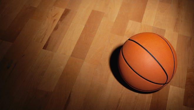 Illustration: Basketball on a Wood Court.