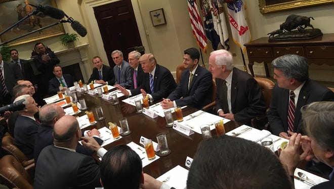 GOP leadership lunch in the Roosevelt Room at the White House. U.S. Sen. John Cornyn, R-Texas, is seated second from top right, next to House Speaker Paul Ryan, on March 1, 2017.