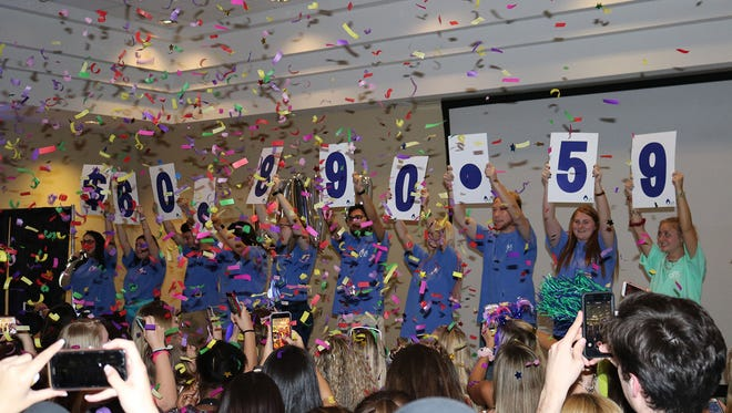 The total funds raised at the 2018 Dance Marathon at UWF to support Studer Family Children's Hospital is revealed.