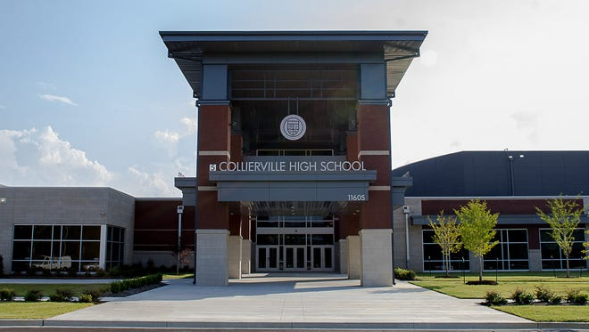 The facade of the new Collierville High School.