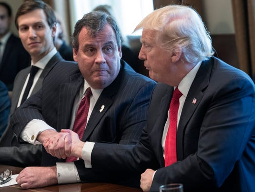 President Trump shakes hands with New Jersey Gov. Chris