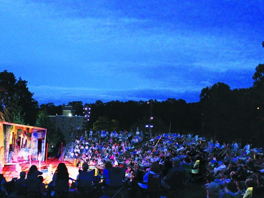 A summer production on the Shakespeare Theatre of New Jersey's outdoor stage at the College of st. Elizabeth.