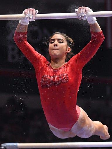 Southern Utah University senior Karen Gonzalez competes
