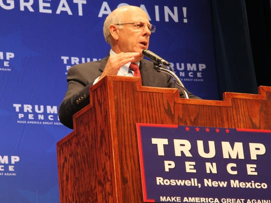 Congressman Steve Pearce introduced Indiana Governor and Republican vice presidential candidate Mike Pence Tuesday in Roswell, N.M.