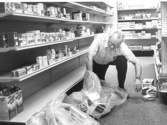 Great Falls Clinic employee packs supplies to move to the new Main Clinic at 1400 29th St. S. in December 1984.