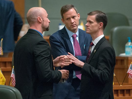 Rep. Jason Harper, R-Rio Rancho, right, seen here during the 2016 Legislative session, is now serving his fourth term in the House of Representatives.