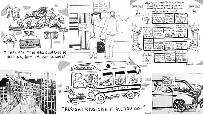 Local artists submitted these cartoons for The Greenville News editorial cartoonist contest.