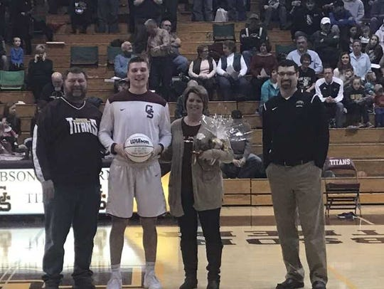 Wes Obermeier is honored before Gibson Southern's game