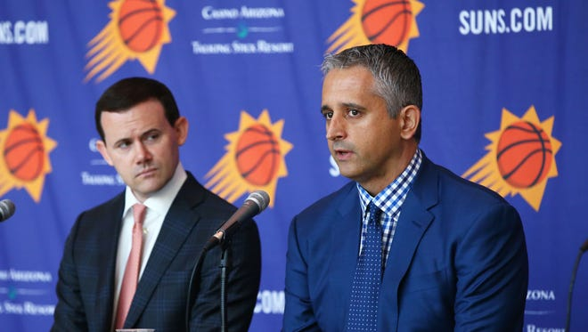 The Phoenix Suns introduce their new head coach Igor Kokoskov (right) during a press conference on May 14, 2018 at Taking Stick Resort Arena in Phoenix, Ariz.