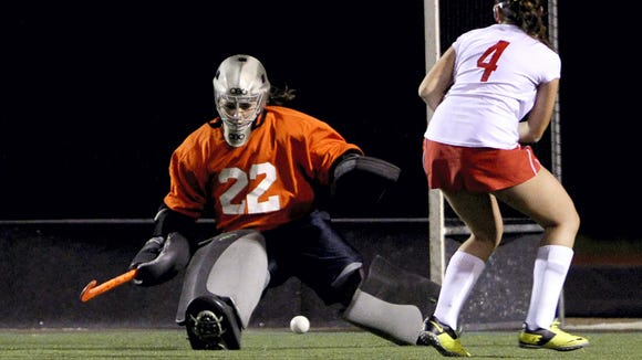 Palmyra goalie Cheyenne Sprecher  is one of six Lebanon County field hockey players to watch this season.