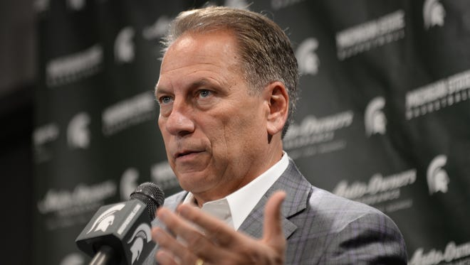 Michigan State Spartans coach Tom Izzo speaks to the media Thursday, Oct. 20, 2016 during MSU men's basketball media day at the Breslin Center.