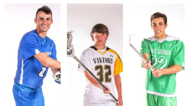 The finalists for The News-Press All-Area Boys Lacrosse Player of the Year are (from left) Jeremy Barrett, Ryan Healy, and DB Lowden.