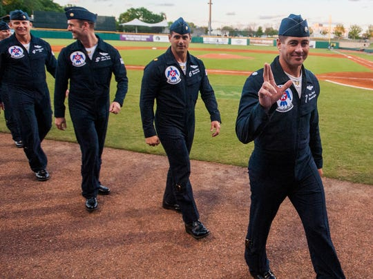 Members of the U.S. Air Force Thunderbirds are introduced on opening night for the Montgomery Biscuits at Riverwalk Stadium in Montgomery, Ala., on Thursday April 6, 2017.