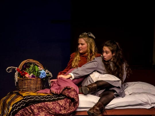 """Mount Pleasant student Talia Speak, right, plays Becky to Cat Enslen's Sara in Wilmington Drama League's """"A Little Princess."""""""