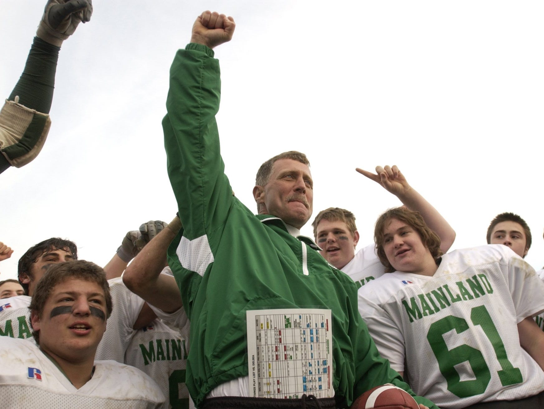 Mainland coach Bob Coffey celebrates with his players after the Mustangs won the 2002 South Jersey Group 3 title.