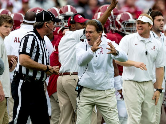 Alabama head coach Nick Saban argues with an official during Saturday's game against Western Carolina.