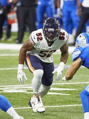 Chicago Bears linebacker Khalil Mack (52) gets set to rush against the Detroit Lions on Sunday in Detroit.