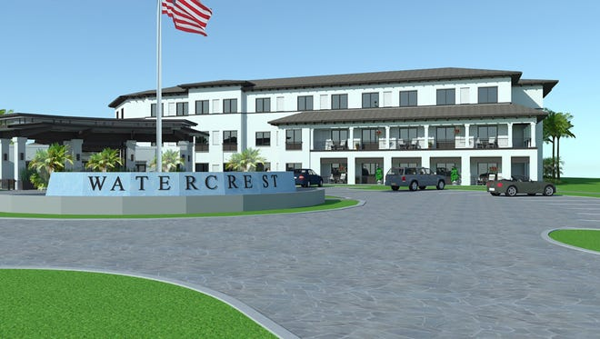 A rendering of the entrance to Watercrest Naples Assisted Living and Memory Care, under construction on the north side of Immokalee Road east of Collier Boulevard.