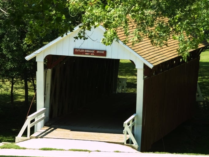 Built in 1870, The Cutler-Donahoe Bridge is located in Winterset's City Park, after being moved from its original location over the North River.