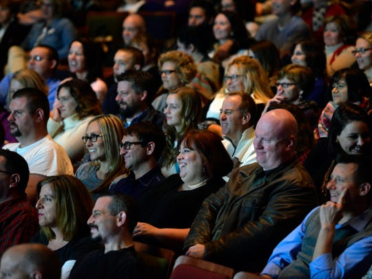 "Audience members respond with laughter to a Q&A session with actress Molly Ringwald Thursday, Dec. 10, 2015, after a 30th anniversary screening of ""The Breakfast Club"" at Penn State York's Pullo Center."
