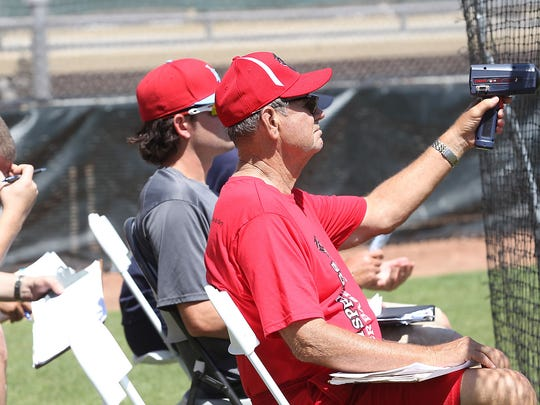Palm Springs Power manager Harry Gurley checks the speed of pitches with a radar gun during open tryouts during this 2013 file photo.