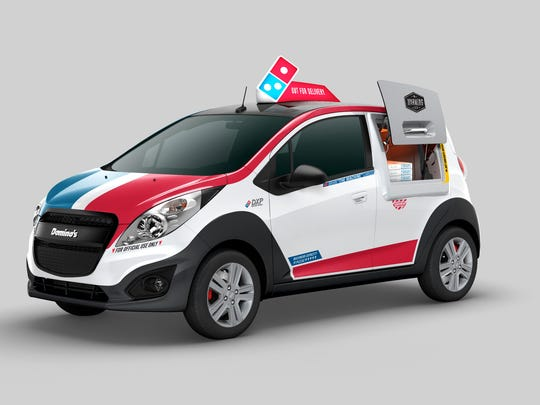Domino's announced plans in October 2015 to covert 100 Chevy Sparks subcompacts into red, white and blue pizza delivery cars with a warming oven accessible through an exterior hatch next to the driver's door. As of mid-August 2016, Domino's had 155 such cars on the road in the U.S., according to the company.