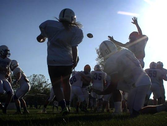 Vikings kicker Jenna Wentling launches a practice kick