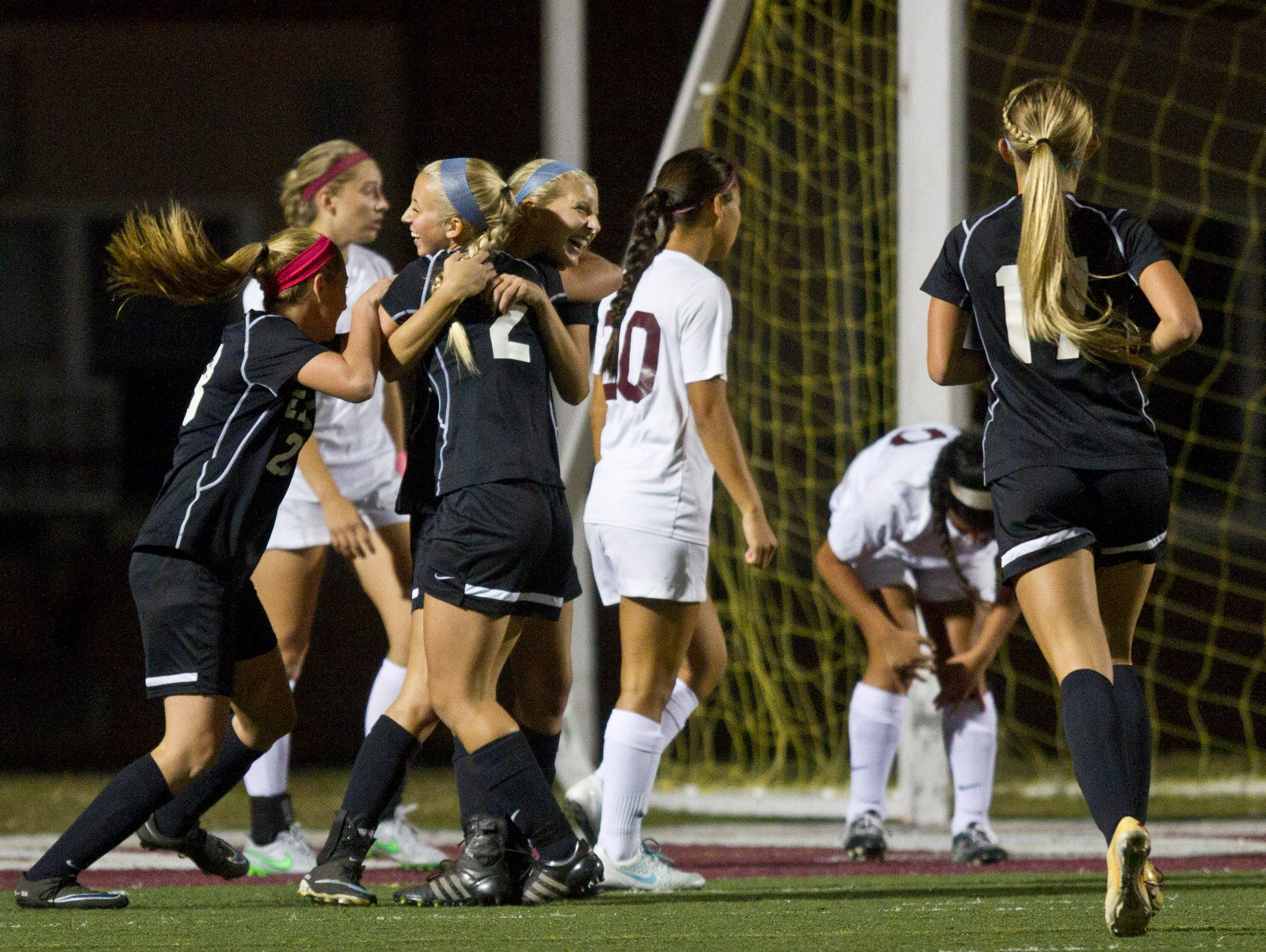 Toms River East celebrates a goal by Kylie Meola. Toms River East vs Toms River South soccer. Toms River, NJ Tuesday, October 13, 2015 @dhoodhood