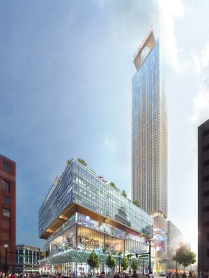 An updated rendering from September 2017 of the proposed building on the Hudson's site in downtown Detroit that will be built by Bedrock and designed by SHoP Architects with Hamilton Anderson Associates