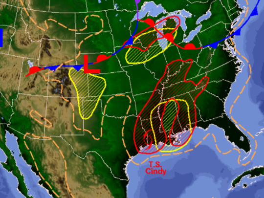 NOAA graphic of Thursday's weather