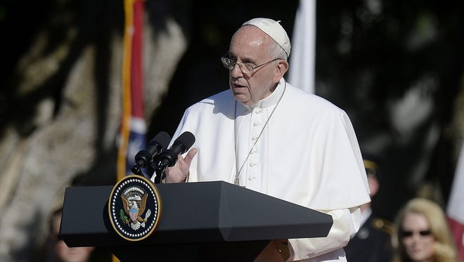 His Holiness Pope Francis speaks during a welcoming ceremony on the South Lawn of the White House on Wednesday in Washington, D.C. The Pope is making his first trip to the United States on a three-city, five-day tour that will include Washington D.C., New York City and Philadelphia.