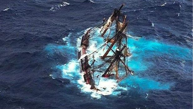 The replica tall ship HMS Bounty sank Oct. 29, 2012, during Hurricane Sandy as it sailed to St. Petersburg, Fla.