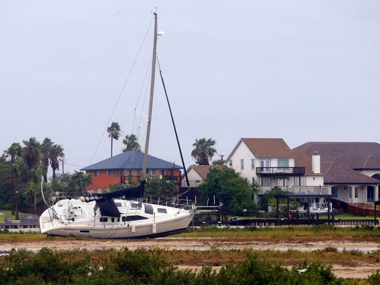 A boat is located on land after Hurricane Harvey landed in the Coastal Bend area Aug. 26, in Port Aransas, Texas. Five troops from Malmstrom Red Horse Squadron recently returned to Montana after volunteering in Texas to help hurricane victims.
