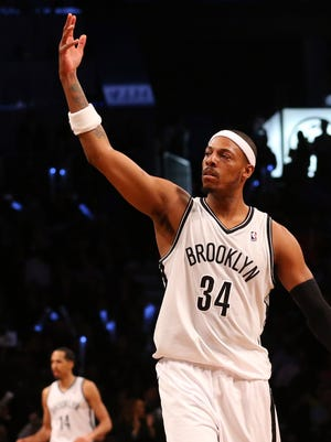 Nets forward Paul Pierce reacts during Game 3 Friday against the Raptors.