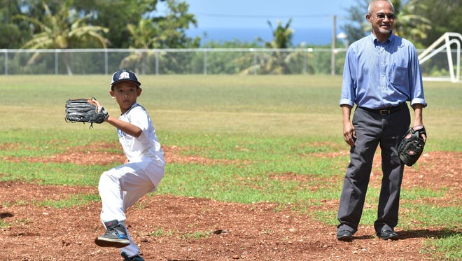 Merizo Martyrs School students played an exhibition game at the newly improved George Leonard Charfauros Baseball Field in Merizo on May 11.