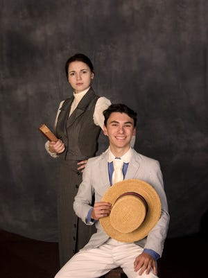 """""""The Music Man"""" lead characters Harold Hill, played by Jacob Higdon and Marian Paroo, played by Elizabeth Soto."""