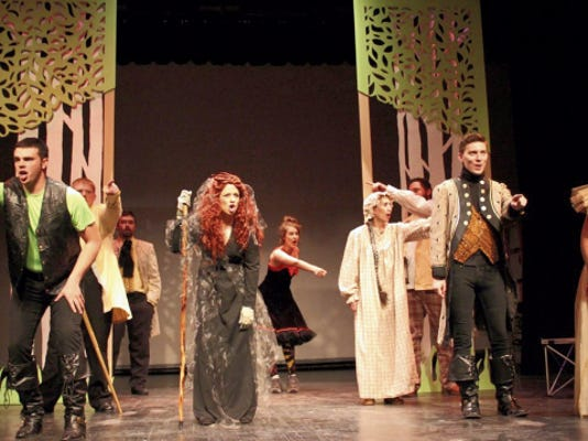 "The cast performs the opening number to ""Into the Woods."" The play begins this weekend at the Flickinger Center."
