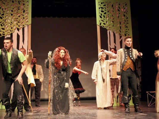 """The cast performs the opening number to """"Into the Woods."""" The play begins this weekend at the Flickinger Center."""