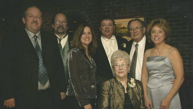 This 2006 family photo shows, from left, standing: Jaye Dianetti, Jack Dianetti Jr., Jill Zito, Jamie Dianetti, Jack Dianetti Sr. and Jackie Midlam. Seated is Audrey Dianetti. The entire family has been involved in running Victor Hills Golf club.