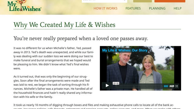 This screen grab image provided by My Life & Wishes shows a page on the My Life & Wishes website featuring founders Jon and Michelle Braddock and their testimony on why they created the site.