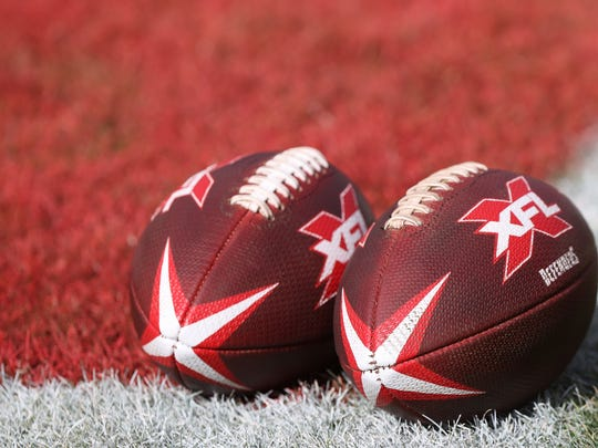 Feb 8, 2020; Washington, DC, USA; Game balls rest on the field prior to the game between the DC Defenders and the Seattle Dragons in an XFL football game at Audi Field. Mandatory Credit: Geoff Burke-USA TODAY Sports