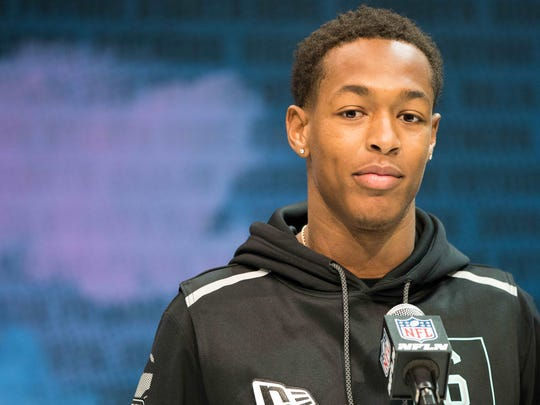 Feb 28, 2020; Indianapolis, Indiana, USA; Mississippi State defensive back Cameron Dantzler (DB06) speaks to the media during the 2020 NFL Combine in the Indianapolis Convention Center. Mandatory Credit: Trevor Ruszkowski-USA TODAY Sports