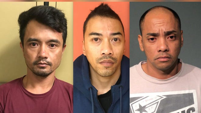 Jason C. Ortiola, left, Jose Sibal Santos Jr. and and Roger B. Balicha were arrested by the Guam Police Department's Mandaña Drug Task Force after two separate search warrants were served on Thursday, Jan. 11, 2018.