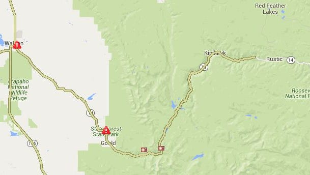 Colorado Highway 14 is closed west of the Poudre Canyon Friday evening due to a wildfire, CDOT reports.
