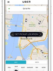 Uber riders request pickups using a smartphone app.
