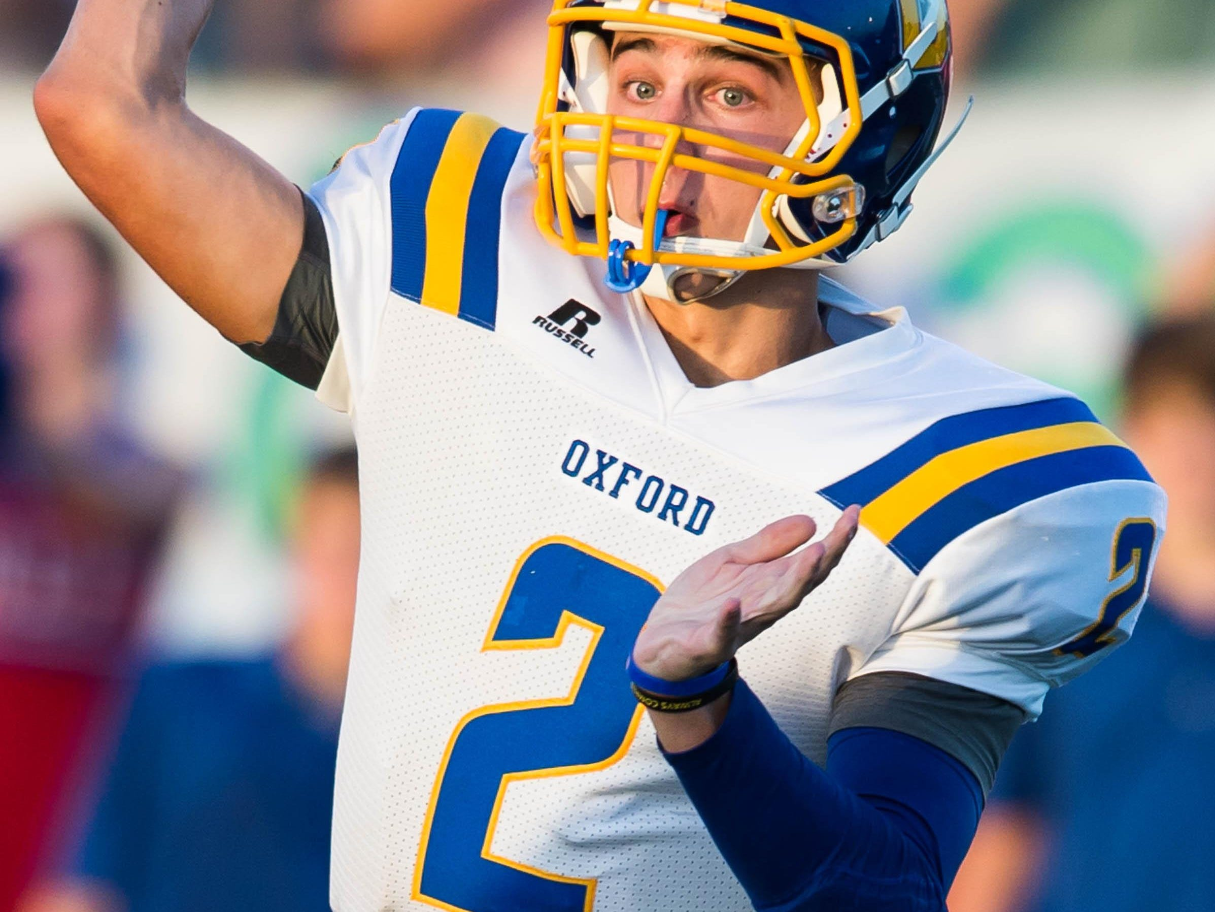 Oxford quarterback Jack Abraham was impressive last season. He threw for 3,304 yards and 35 touchdowns while completing 59.7 percent of his passes.