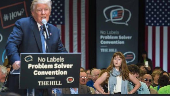 Lauren Batchelder of Chester N.H. waits for Donald