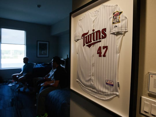 Minnesota Twins memorabilia is displayed throughout The Minnesota Twins player development academy in south Fort Myers.
